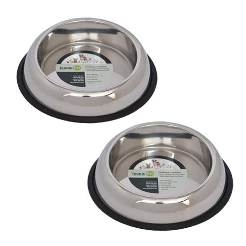 2 Pack Heavy Weight Non-skid Easy Feed High Back Pet Bowls - 51445 - Tennis Gifts Kitchen Accessories Mugs And Bowls 51445