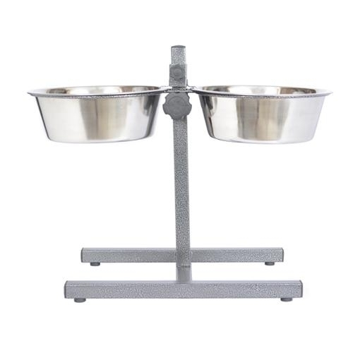 Adjustable Stainless Steel Pet Double Diner For Dog-2 Qt-64 Oz-8 Cup - 92043 - Physical Therapy Pet Care & Park Equipment 92043