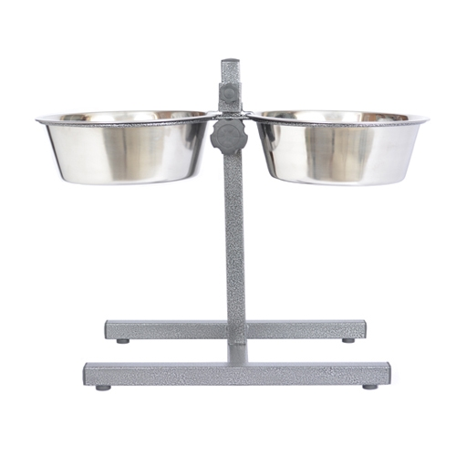 Adjustable Stainless Steel Pet Double Diner For Dog-3 Qt-96 Oz-12 Cup - 92044 - Physical Therapy Pet Care & Park Equipment 92044