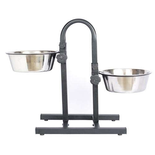 Adjustable Stainless Steel Pet Double Diner For Dog (u Design)-2 Qt-64 Oz-8 Cup - 92182 - Flying Disc Sports Double Disc Court 92182