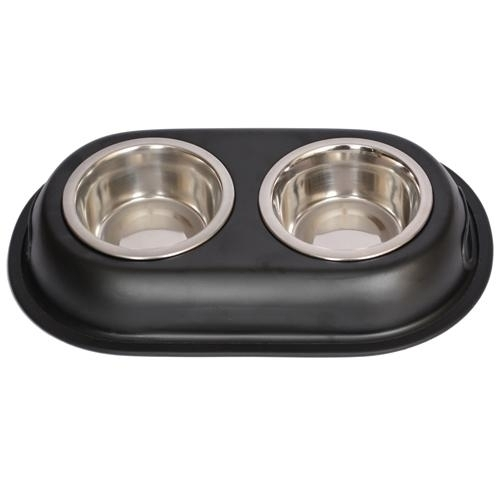 Color Splash Stainless Steel Double Diner (black) For Dog Or Cat-1pt-16 Oz-2 Cup - 92031 - Physical Education Toss & Catch 92031