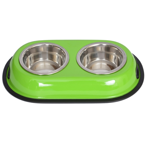 Color Splash Stainless Steel Double Diner (green) For Dog Or Cat-1 Pt-16 Oz-2 Cup - 92037 - Physical Education Toss & Catch 92037