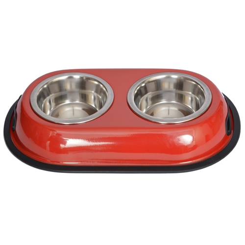 Color Splash Stainless Steel Double Diner (red) For Dog Or Cat-1/2 Pt-8 Oz-1 Cup - 92033 - Physical Education Toss & Catch 92033