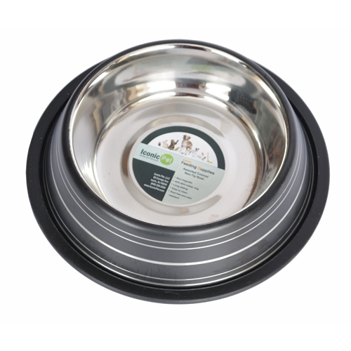 Color Splash Stripe Non-skid Pet Bowl For Dog Or Cat-black-24 Oz - 92155 - Physical Therapy Pet Care & Park Equipment 92155