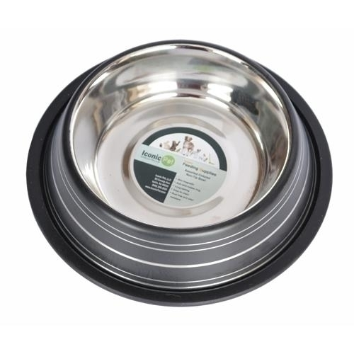 Color Splash Stripe Non-skid Pet Bowl For Dog Or Cat-black-8 Oz - 92153 - Physical Therapy Pet Care & Park Equipment 92153