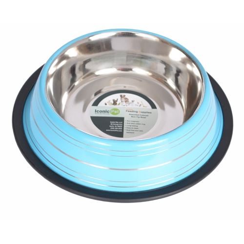 Color Splash Stripe Non-skid Pet Bowl For Dog Or Cat-blue-16 Oz - 92166 - Physical Therapy Pet Care & Park Equipment 92166