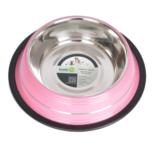 Color Splash Stripe Non-skid Pet Bowl For Dog Or Cat-pink-24 Oz - 92161 - Physical Therapy Pet Care & Park Equipment 92161