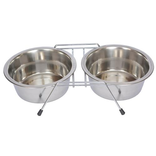 Stainless Steel Double Diner With Wire Stand For Dog Or Cat-3 Qt-96 Oz-12 Cup - 92028 - Facilities Management Cat Products Interactive Plush Toys 92028