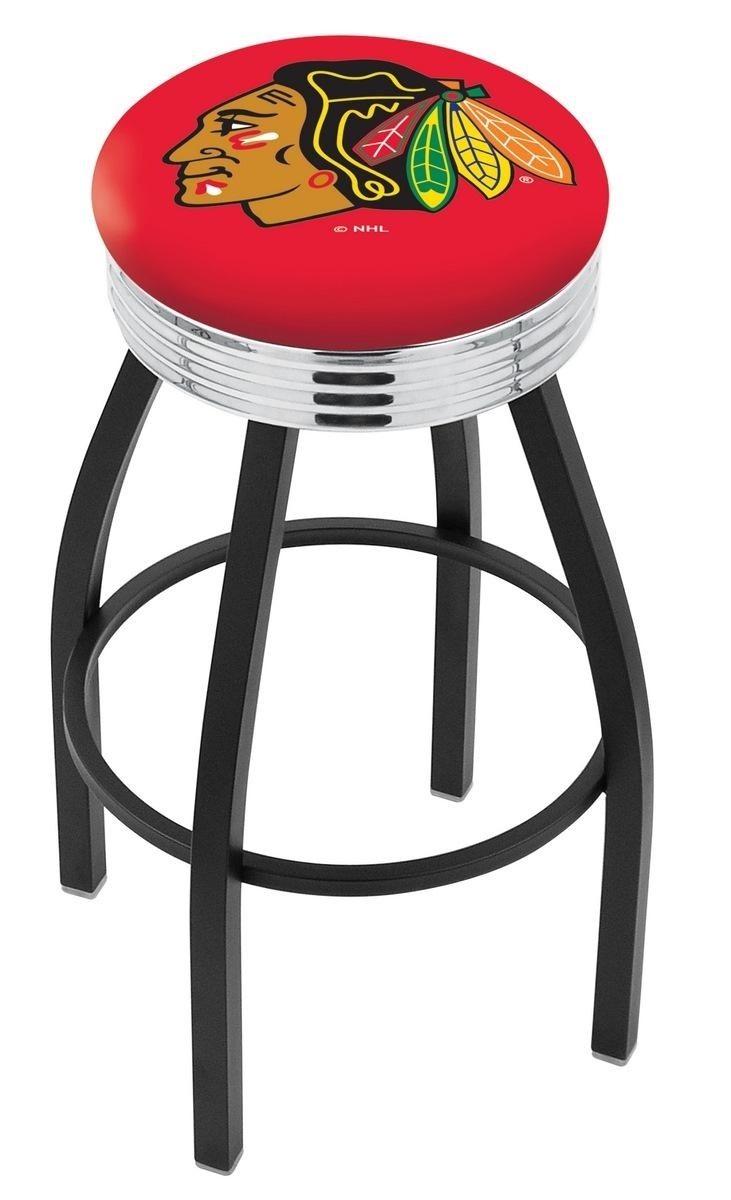 Chicago Blackhawks Bar Stool W/red Background-l8b3c - L8b3c30chihwk-r - Chairs Table Nhl L8B3C30CHIHWK-R