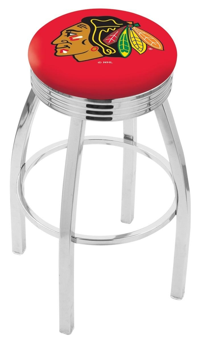 Chicago Blackhawks Bar Stool W/red Background-l8c3c - L8c3c30chihwk-r - Chairs Table Nhl L8C3C30CHIHWK-R