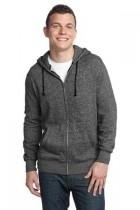 District-young Mens Marled Fleece Full-zip Hoodie - Dt192-marledblack - Gifts Fleece DT192-MARLEDBLACK