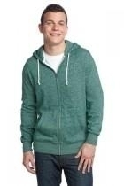 District-young Mens Marled Fleece Full-zip Hoodie - Dt192-marledevergree - Gifts Fleece DT192-MARLEDEVERGREE