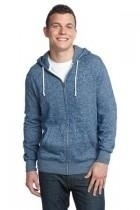 District-young Mens Marled Fleece Full-zip Hoodie - Dt192-marledstormblu - Clothing District DT192-MARLEDSTORMBLU