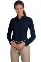 "Port Authority Ladies Long Sleeve Silk Touch"" Polo - L500ls-navy - Shirts And Tops L500LS-NAVY"